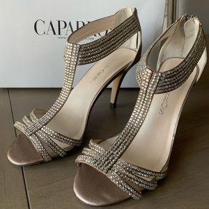 Caparros Crystal Embellished T-Strap Heel Taupe